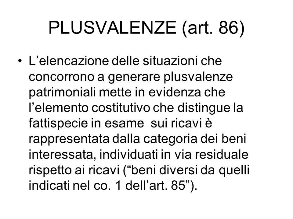 PLUSVALENZE (art. 86)