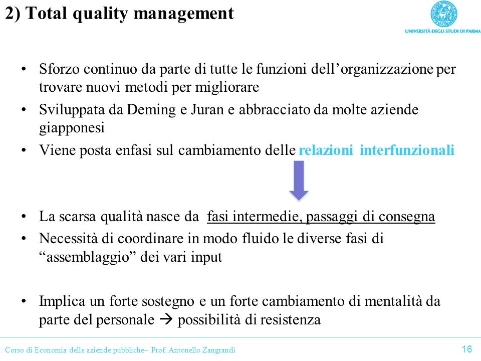 2) Total quality management