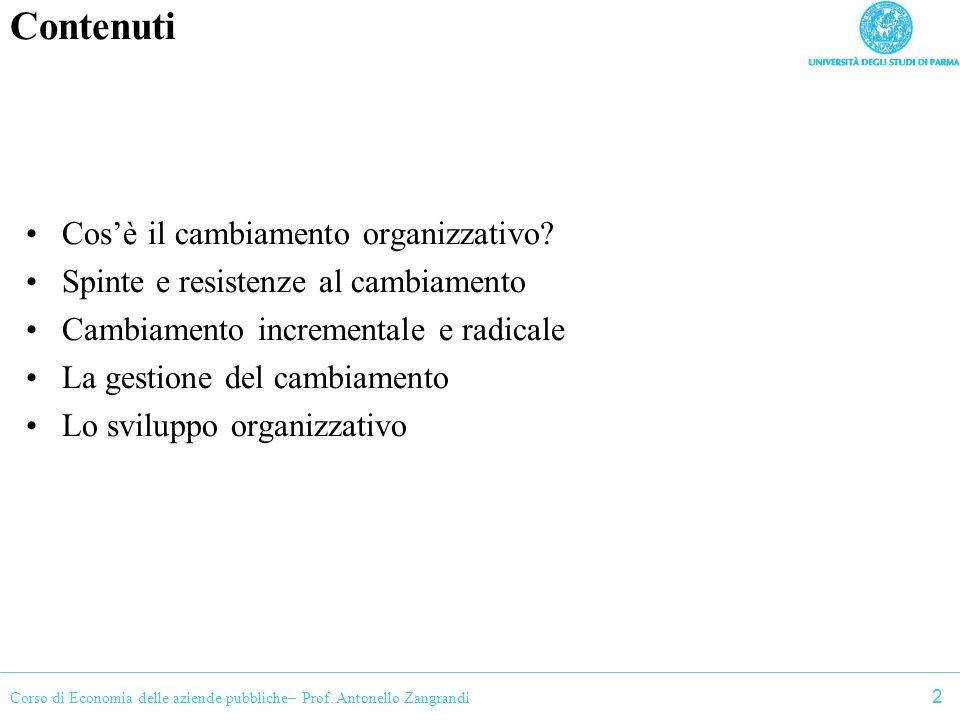 Contenuti Cos'è il cambiamento organizzativo