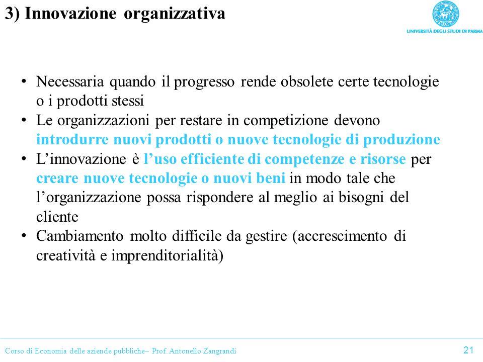 3) Innovazione organizzativa
