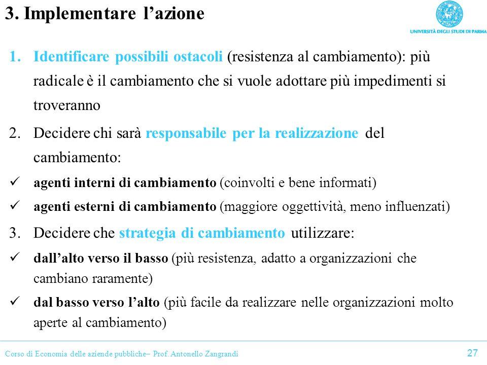 3. Implementare l'azione