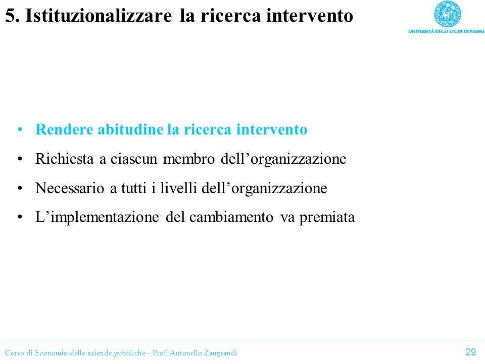 5. Istituzionalizzare la ricerca intervento