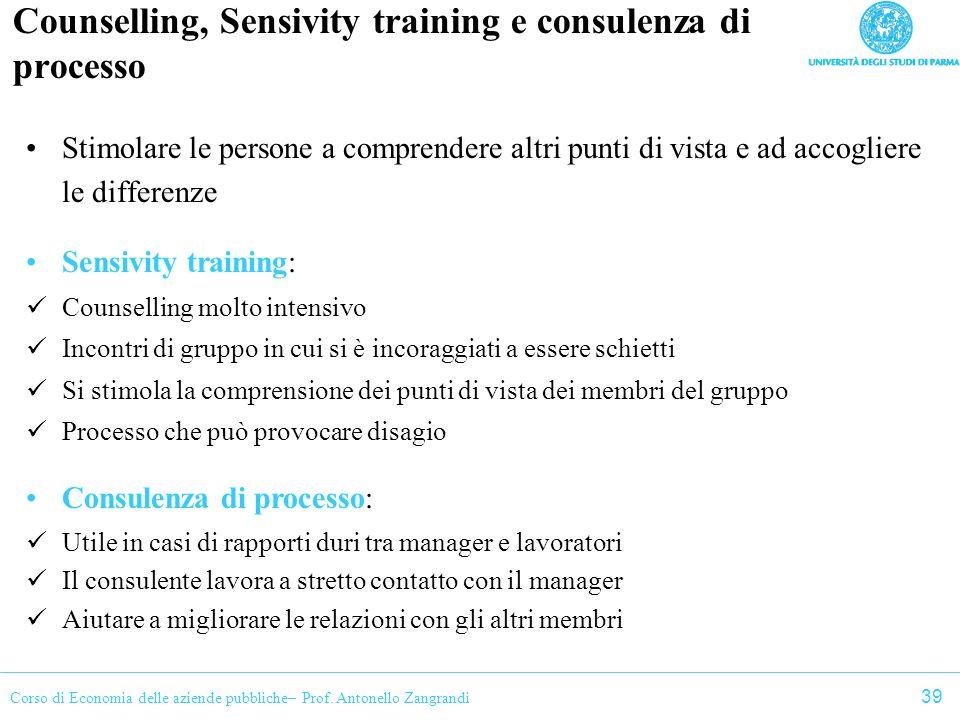 Counselling, Sensivity training e consulenza di processo