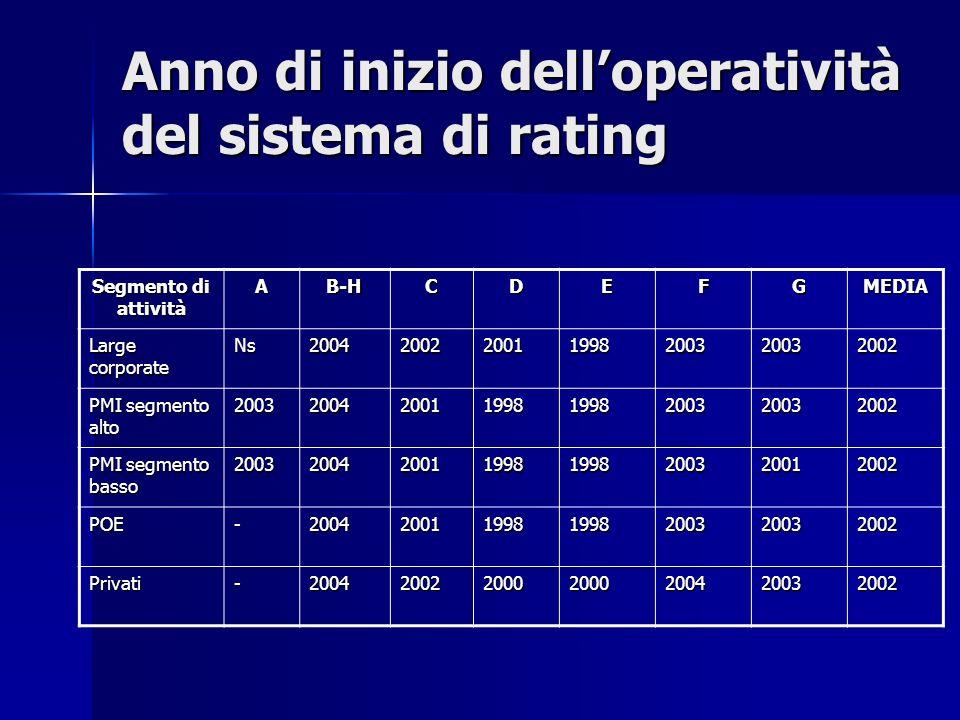 Anno di inizio dell'operatività del sistema di rating