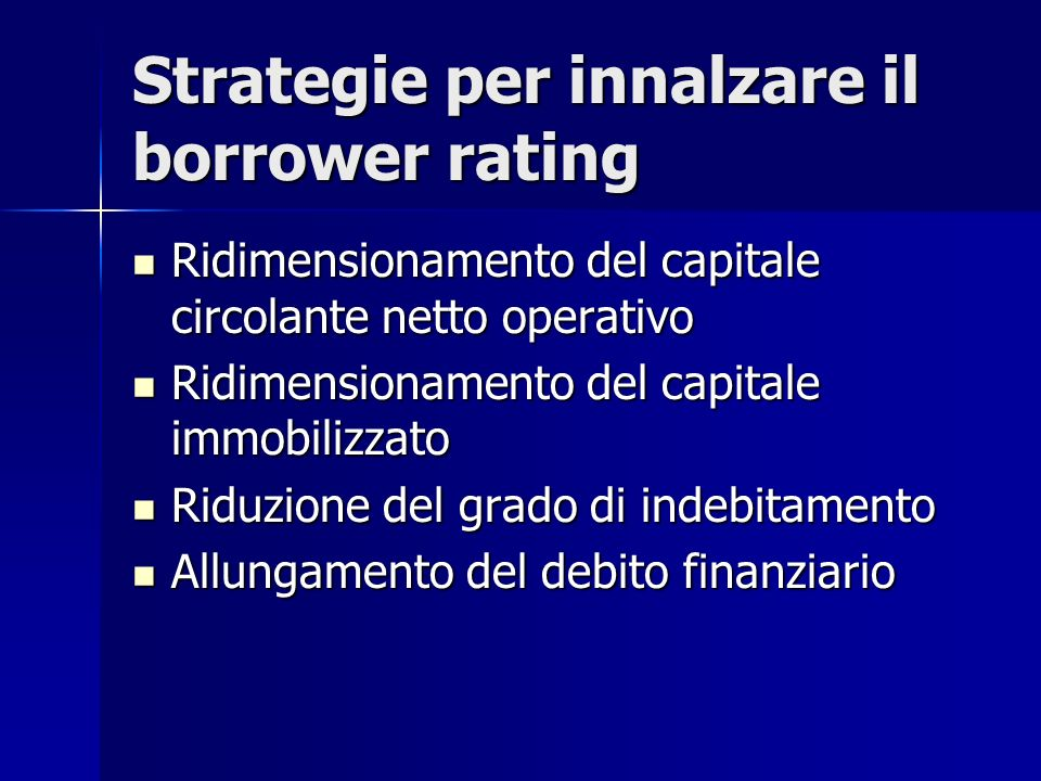 Strategie per innalzare il borrower rating