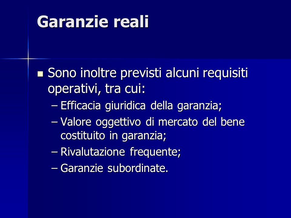 Garanzie reali Sono inoltre previsti alcuni requisiti operativi, tra cui: Efficacia giuridica della garanzia;