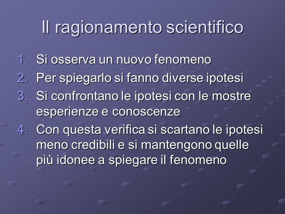 Il ragionamento scientifico