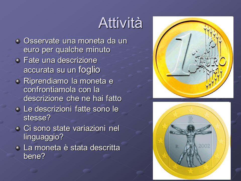 Attività Osservate una moneta da un euro per qualche minuto