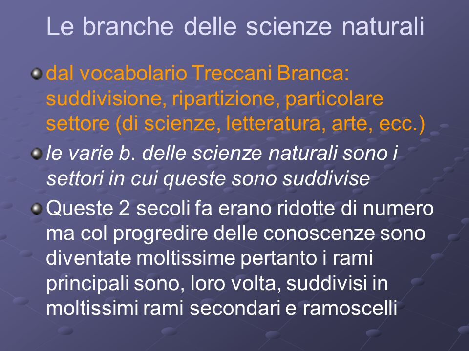 Le branche delle scienze naturali
