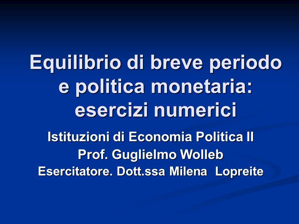 Equilibrio di breve periodo e politica monetaria: esercizi numerici
