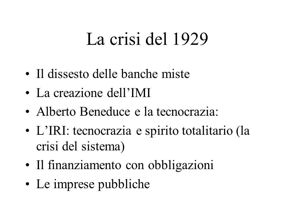 La crisi del 1929 Il dissesto delle banche miste La creazione dell'IMI
