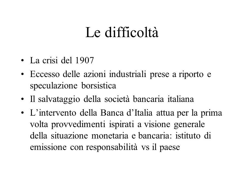 Le difficoltà La crisi del 1907