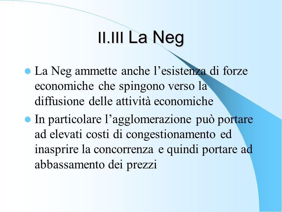 II.III La Neg La Neg ammette anche l'esistenza di forze economiche che spingono verso la diffusione delle attività economiche.
