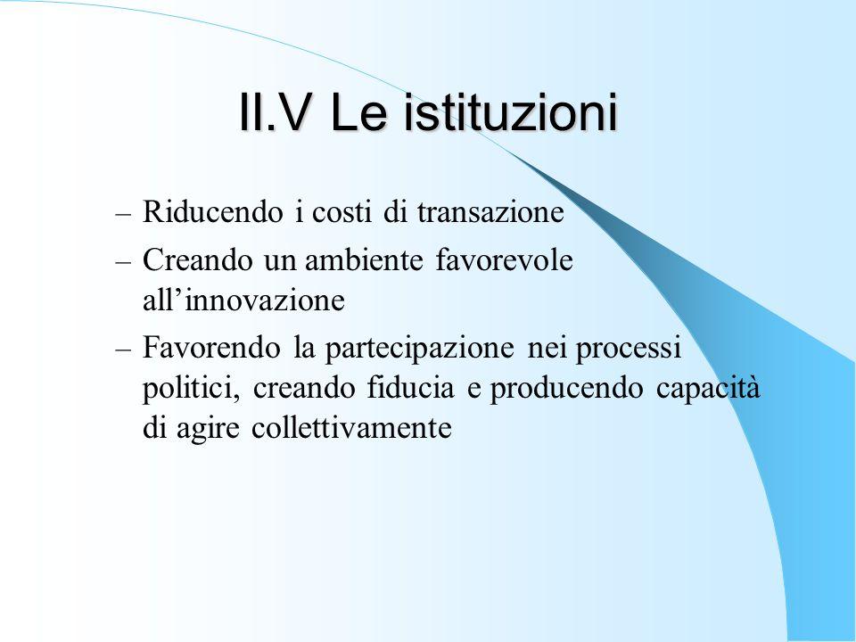 II.V Le istituzioni Riducendo i costi di transazione