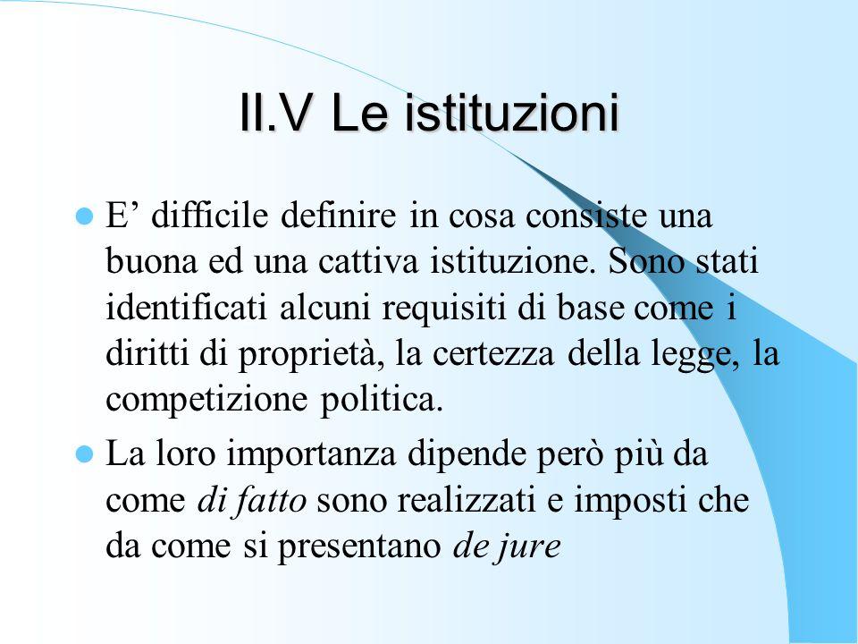 II.V Le istituzioni