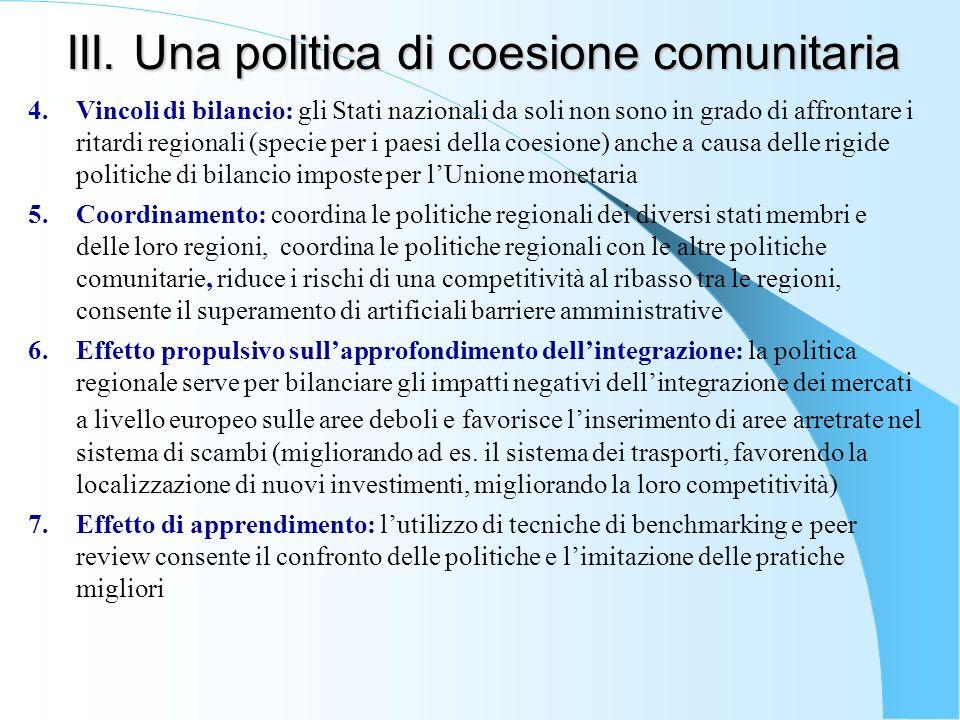 III. Una politica di coesione comunitaria