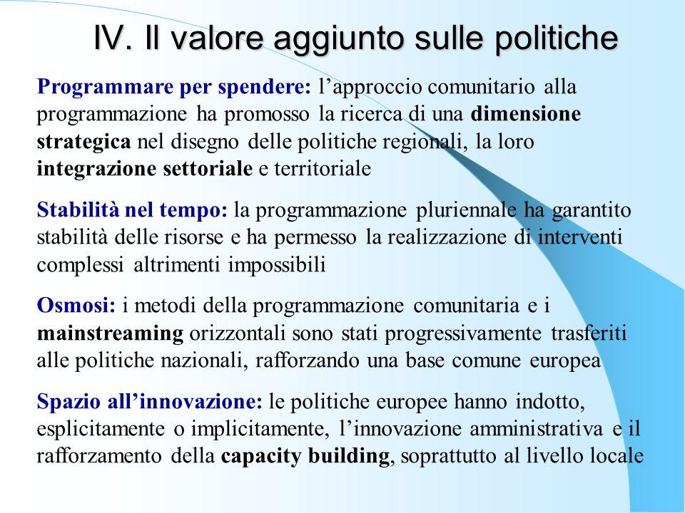 IV. Il valore aggiunto sulle politiche