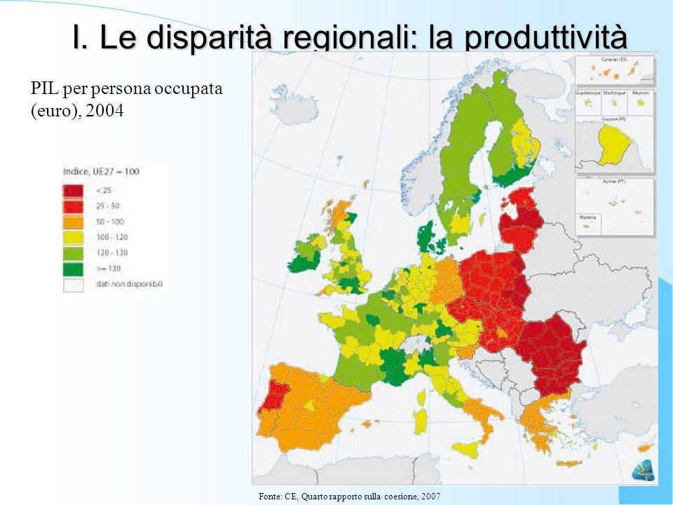I. Le disparità regionali: la produttività