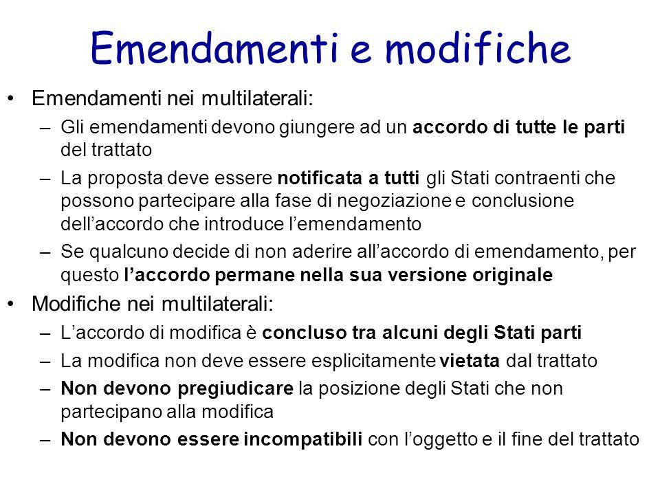 Emendamenti e modifiche