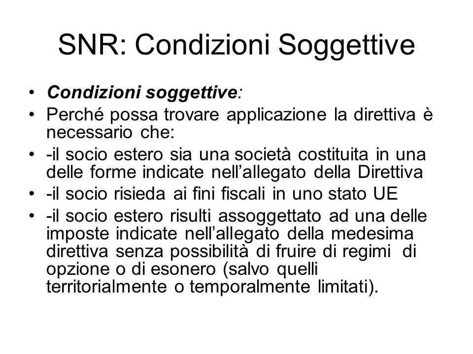SNR: Condizioni Soggettive
