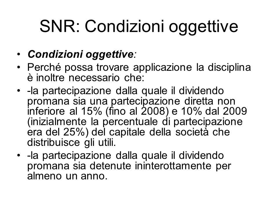 SNR: Condizioni oggettive