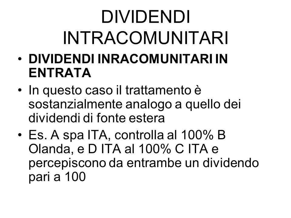 DIVIDENDI INTRACOMUNITARI