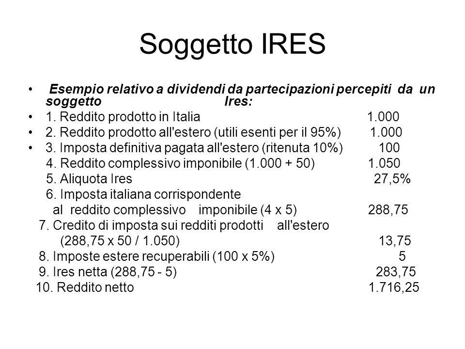 Soggetto IRES Esempio relativo a dividendi da partecipazioni percepiti da un soggetto Ires: