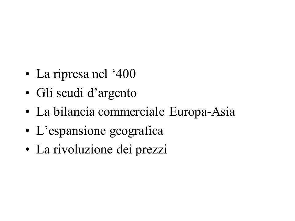 La ripresa nel '400 Gli scudi d'argento. La bilancia commerciale Europa-Asia. L'espansione geografica.