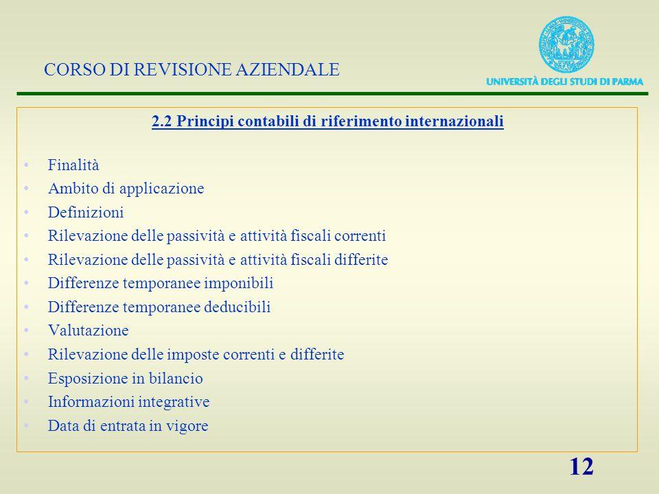 2.2 Principi contabili di riferimento internazionali