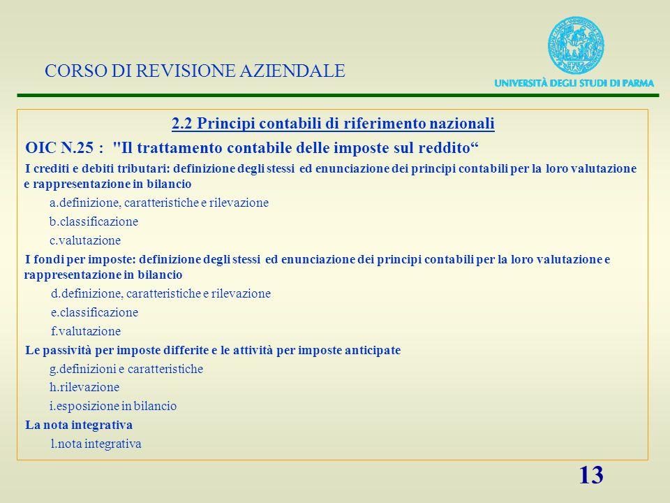 2.2 Principi contabili di riferimento nazionali