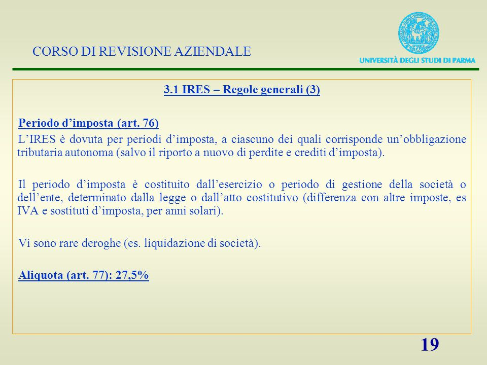 3.1 IRES – Regole generali (3)