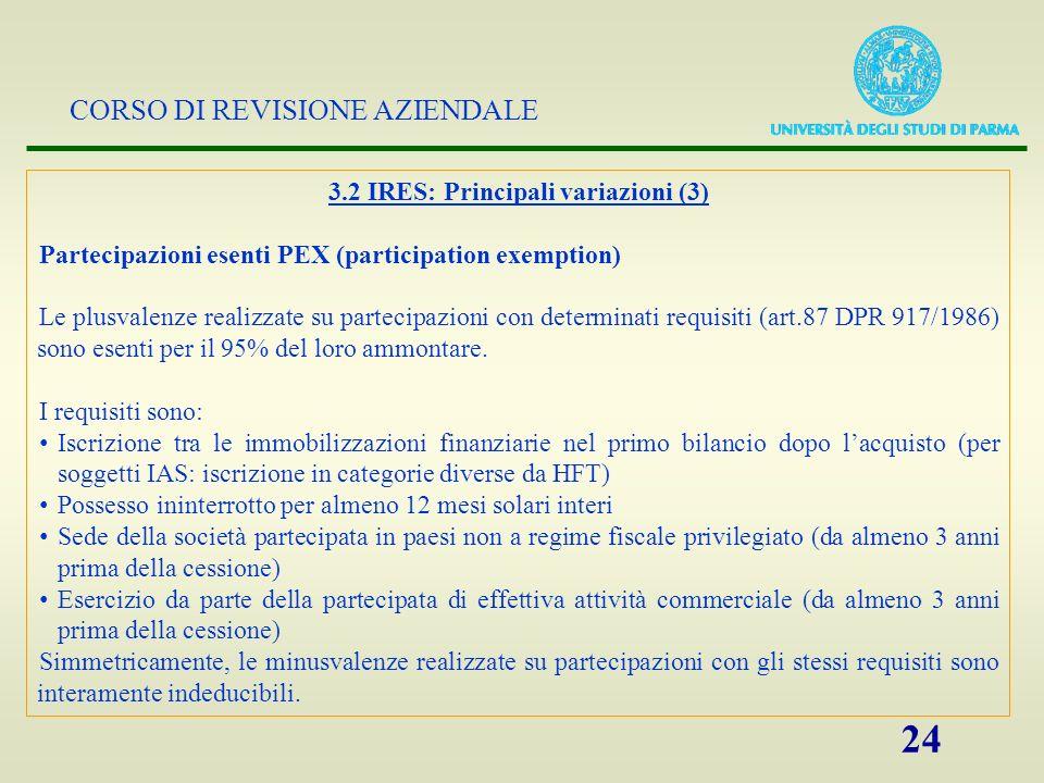 3.2 IRES: Principali variazioni (3)