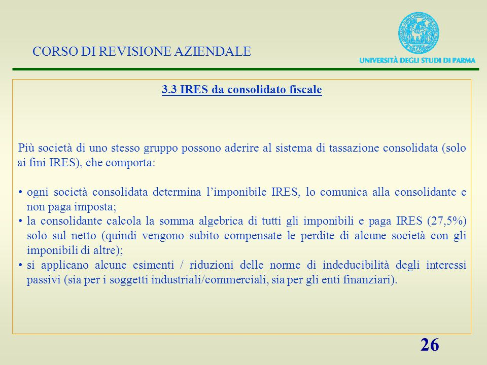 3.3 IRES da consolidato fiscale