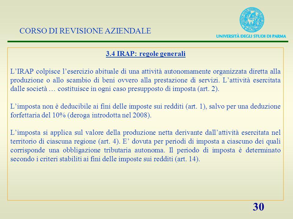 3.4 IRAP: regole generali