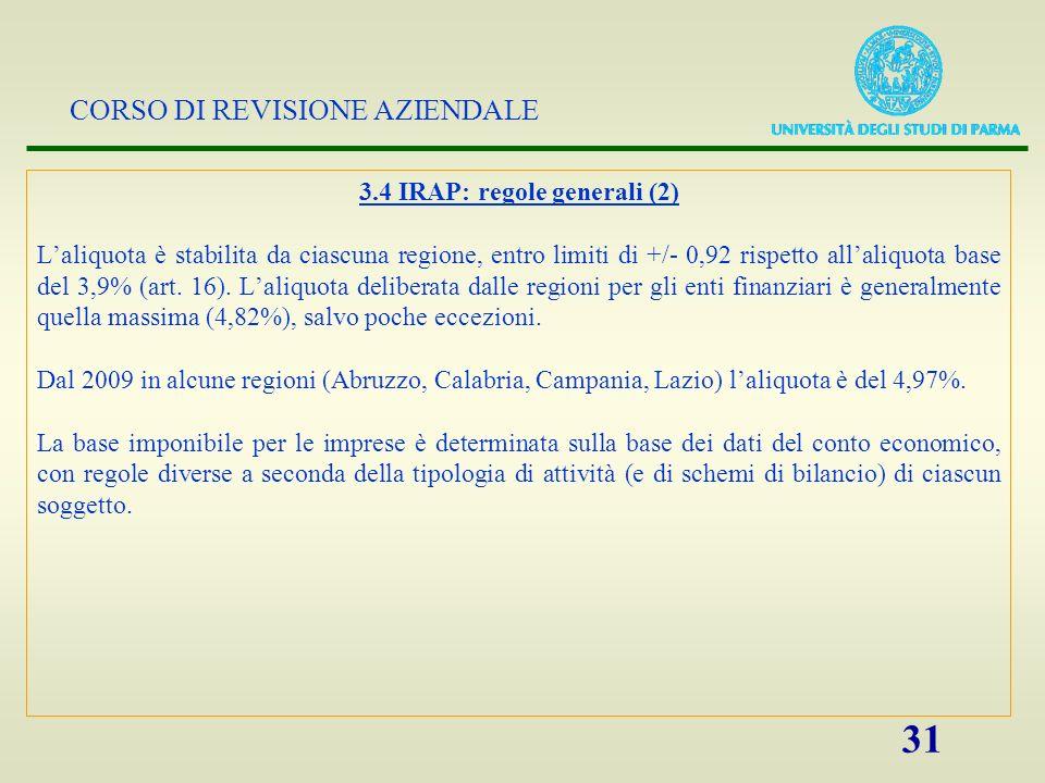 3.4 IRAP: regole generali (2)