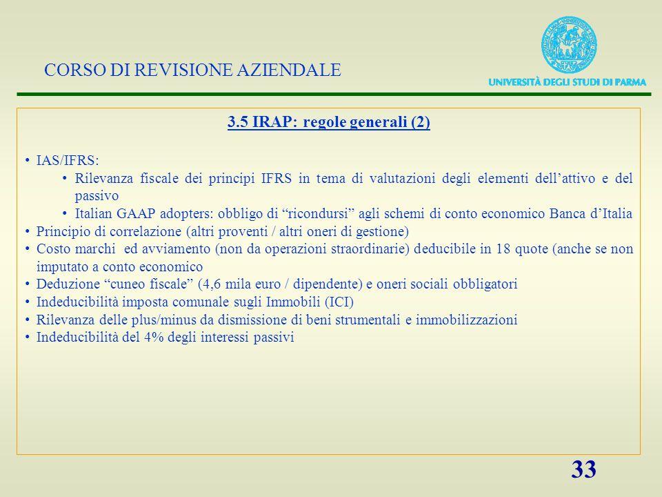 3.5 IRAP: regole generali (2)