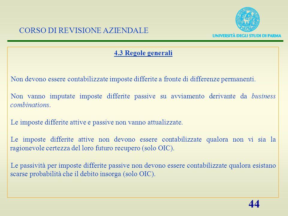 4.3 Regole generali Non devono essere contabilizzate imposte differite a fronte di differenze permanenti.