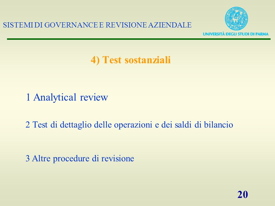 4) Test sostanziali 1 Analytical review