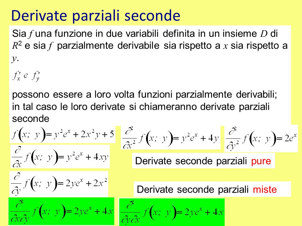 Derivate parziali seconde