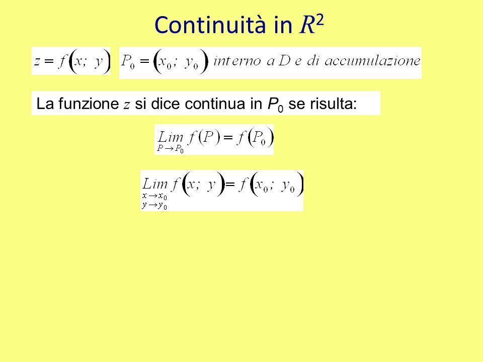 Continuità in R2 La funzione z si dice continua in P0 se risulta: