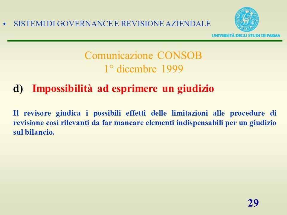 Comunicazione CONSOB 1° dicembre 1999