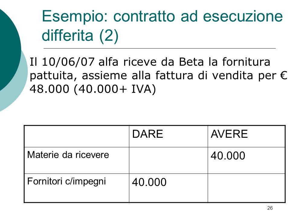 Esempio: contratto ad esecuzione differita (2)