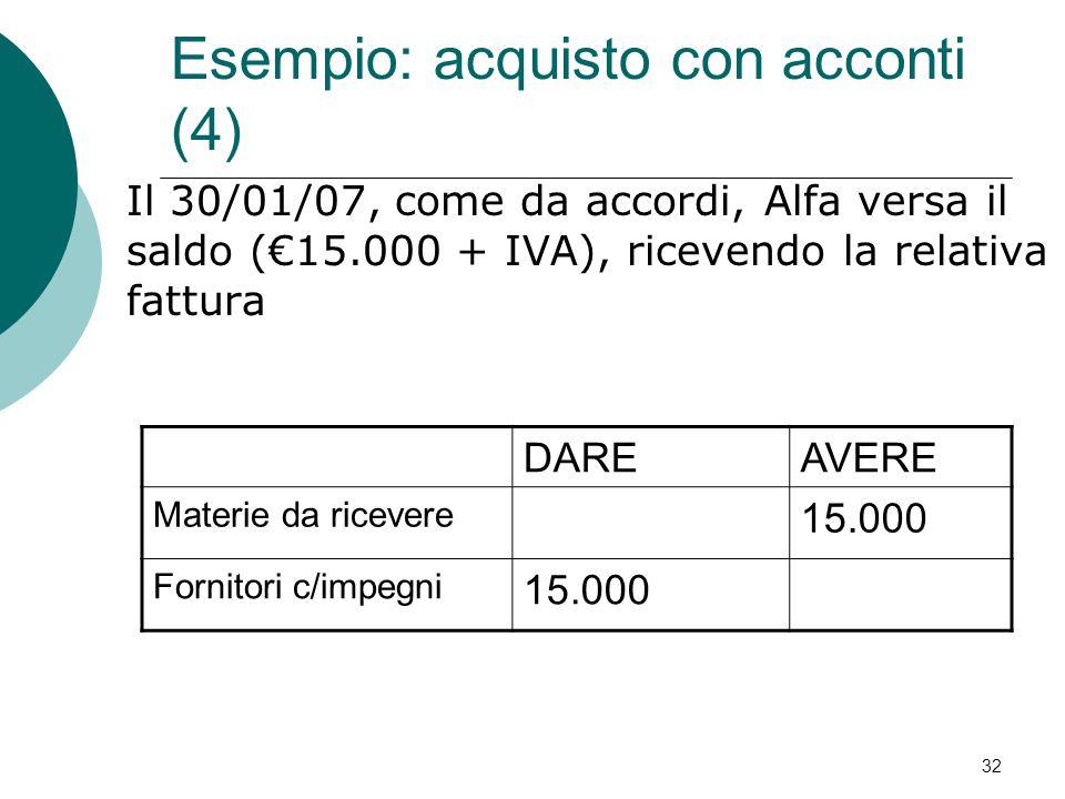 Esempio: acquisto con acconti (4)