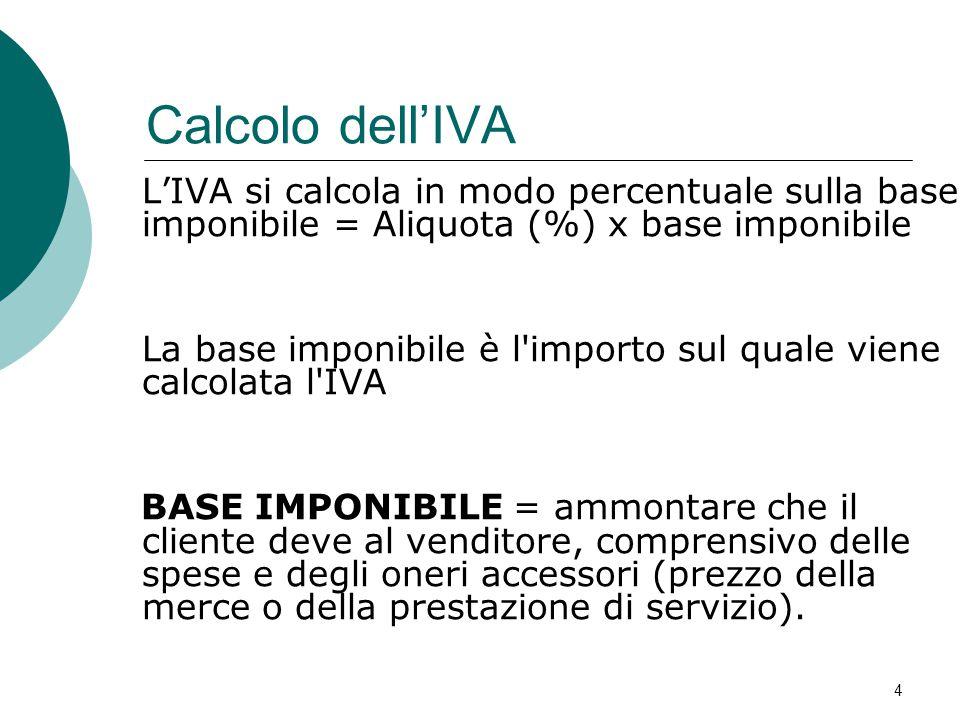 Calcolo dell'IVA L'IVA si calcola in modo percentuale sulla base imponibile = Aliquota (%) x base imponibile.
