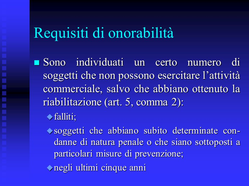 Requisiti di onorabilità