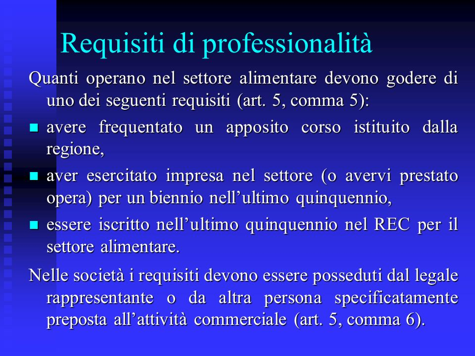 Requisiti di professionalità