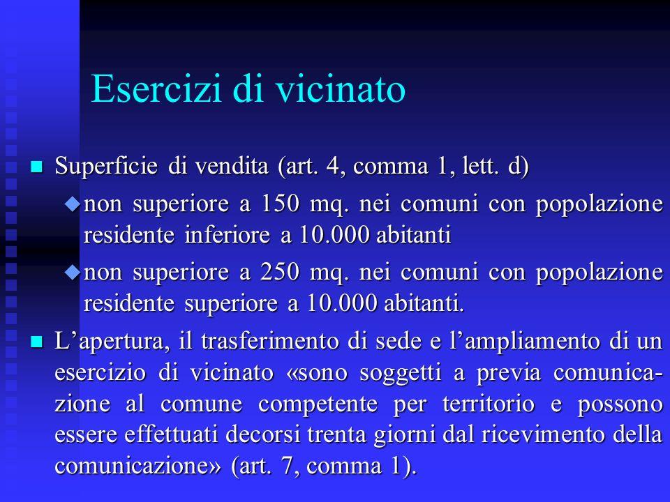 Esercizi di vicinato Superficie di vendita (art. 4, comma 1, lett. d)