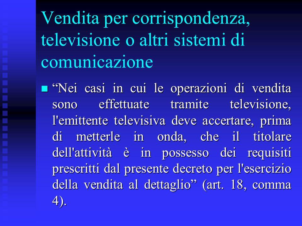 Vendita per corrispondenza, televisione o altri sistemi di comunicazione