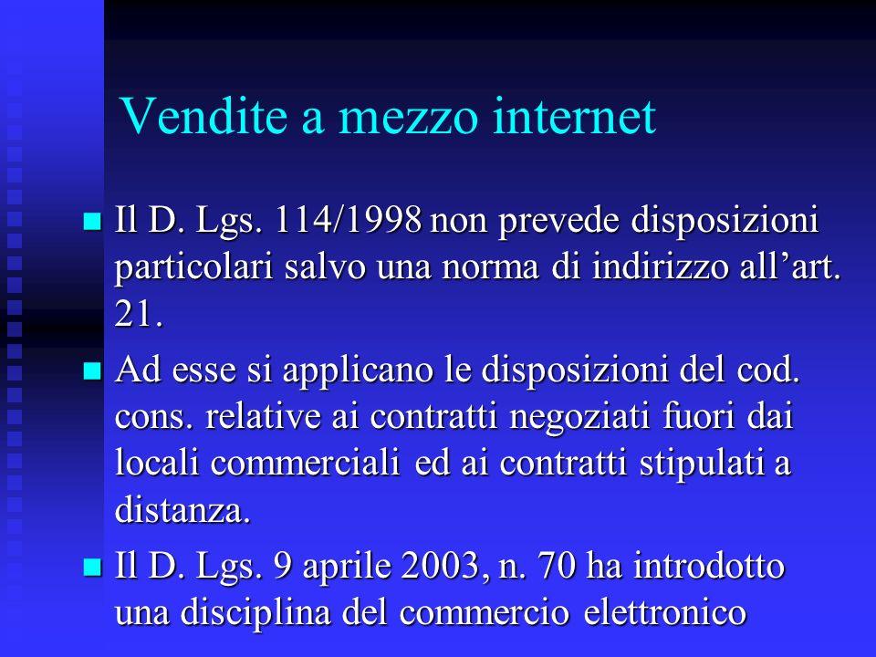 Vendite a mezzo internet