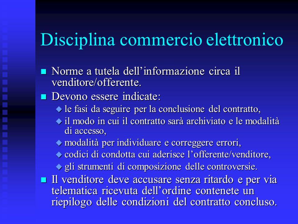 Disciplina commercio elettronico